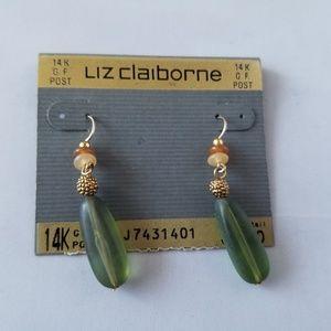 NWT Liz Claiborne Green 14K GF Post Earrings